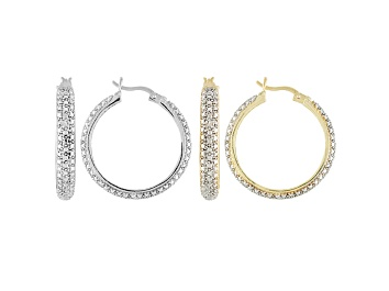 Picture of DIAMOND ACCENT ROUND 18K YELLOW GOLD AND RHODIUM OVER BRASS HOOP EARRINGS SET OF 2
