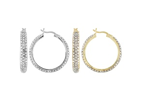DIAMOND ACCENT ROUND 18K YELLOW GOLD AND RHODIUM OVER BRASS HOOP EARRINGS SET OF 2