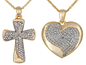 Diamond Accent 18k Yellow Gold Over Brass Pendants With Chain .02ctw