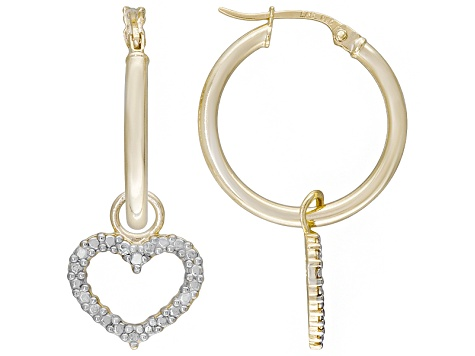 Diamond Accent 18k Yellow Gold And Rhodium Over Sterling Silver Earring Set