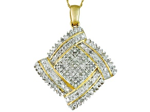 Diamond 14k Yellow Gold Over Brass Pendant 1.00ctw