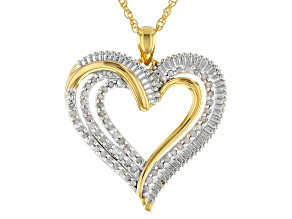 "Diamond 14k Yellow Gold Over Brass Heart Pendant With 18"" Rope Chain .50ctw"