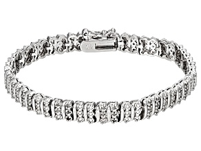 White Diamond Rhodium Over Brass Bracelet .25ctw