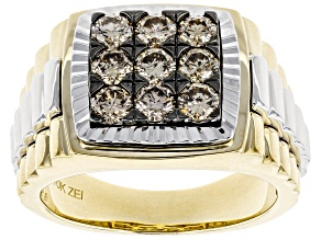 Champagne Diamond 10k Yellow And White Gold Gents Ring 1.50ctw