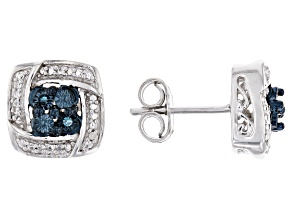 Blue And White Diamond Rhodium Over Sterling Silver Earrings .02ctw