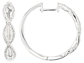 Diamond rhodium over sterling silver earrings, .50ctw