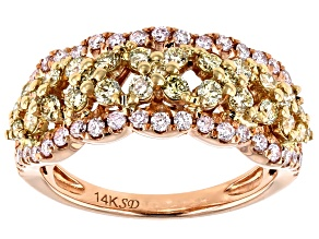 Natural Pink And Yellow Diamond 14k Rose Gold Ring 1.04ctw