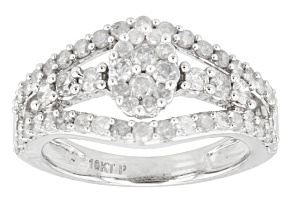Diamond, 10k White Gold Ring, 1.10ctw