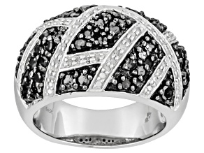 Black And White Diamond Rhodium Over Sterling Silver Ring, 1.00ctw