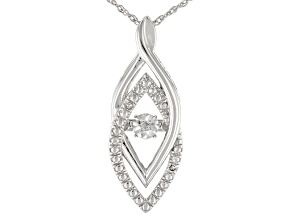 "White Diamond Accent Rhodium Over Sterling Silver Dancing Diamond Pendant With 18"" Chain"