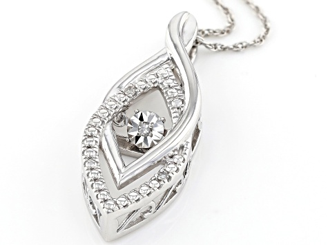 White Diamond Accent Rhodium Over Sterling Silver Dancing Diamond Pendant With 18 inch Chain