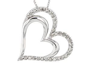 Diamond Rhodium Over Sterling Silver Pendant .25ctw