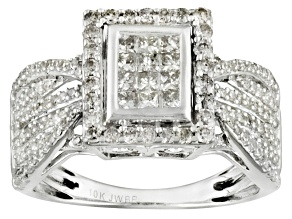 Diamond 10k White Gold Ring 1.00ctw