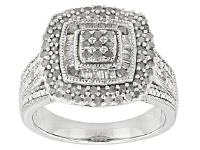 Diamond Rhodium Over Sterling Silver Ring .76ctw
