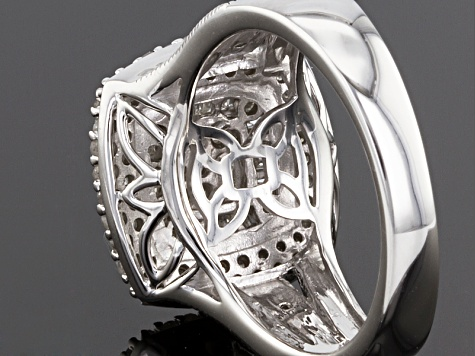 Diamond Rhodium Over Sterling Silver Ring .76ctw