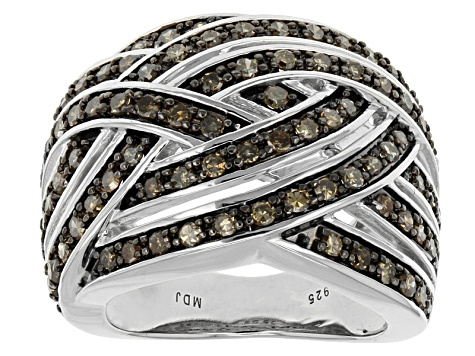 Champagne Diamond Rhodium Over Sterling Silver Ring 1.00ctw