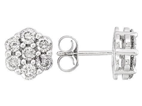 Diamond 14k White Gold Earrings 1.00ctw