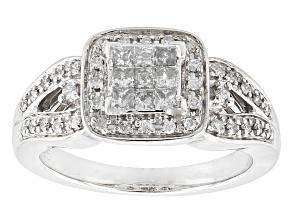 Diamond Rhodium Over Sterling Silver Ring .40ctw