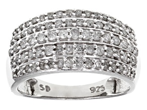 Diamond Rhodium Over Sterling Silver Ring .89ctw