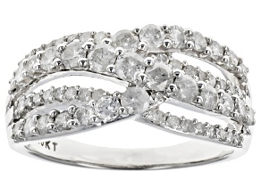 Diamond 10k White Gold Ring 1.18ctw