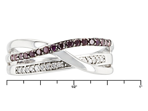 Purple And White Diamond Rhodium Over Sterling Silver Ring .25ctw