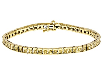 Picture of Yellow Diamond 14k Yellow Gold Over Sterling Silver Bracelet 1.00ctw