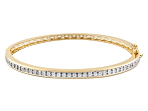 Diamond 18k Yellow Gold Over Brass Bangle .50ctw