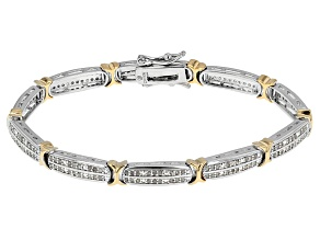 Diamond Rhodium And 18k Yellow Gold Over Brass 0.95ctw