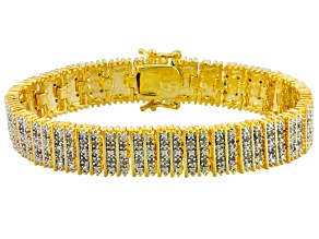 Diamond 14k Yellow Gold Over Brass Bracelet 1.00ctw
