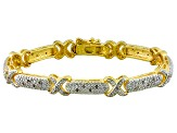 Diamond 14k Yellow Gold Over Brass Bracelet .25ctw