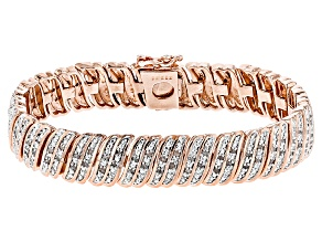 White Diamond 14k Rose Gold Over Brass Bracelet 1.00ctw