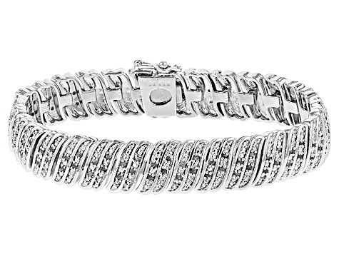 White Diamond Rhodium Over Brass Bracelet 1.00ctw