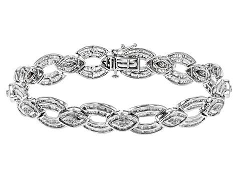 White Diamond Rhodium Over Sterling Silver Bracelet 3 61ctw