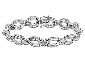 White Diamond Rhodium Over Sterling Silver Bracelet 3.61ctw