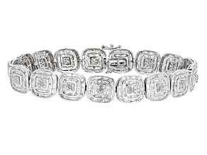 White Diamond Rhodium Over Sterling Silver Bracelet 4.62ctw
