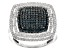 Blue And White Diamond Rhodium Over Sterling Silver Ring .75ctw