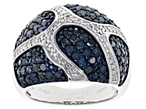 Blue Diamond Rhodium Over Sterling Silver Ring 1.50ctw