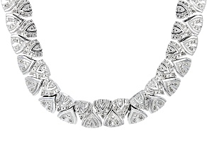 White Diamond Rhodium Over Brass Necklace 1.00ctw