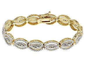 White Diamond 18k Yellow Gold Over Brass Bracelet .25ctw