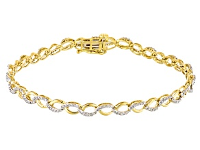 White Diamond 10k Yellow Gold Bracelet .50ctw