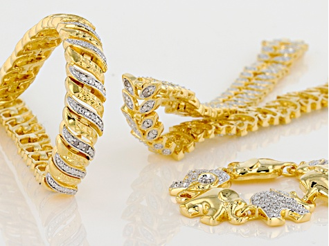 White Diamond 14k Yellow Gold Over Brass 3 Piece Bracelet Set Diamond Accent