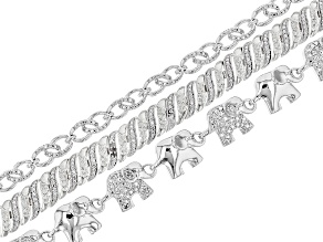 White Diamond 14k Rhodium Over Brass 3 Piece Bracelet Set Diamond Accent