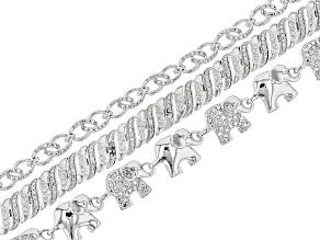 White Diamond 14k Rhodium Over Brass 3 Piece Bracelet Set Diamond Accent