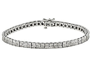 White Diamond Rhodium Over Sterling Silver Bracelet 1.00ctw