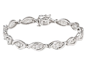 White Diamond 10k White Gold Bracelet