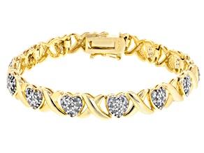 White Diamond 18k Yellow Gold Over Brass Heart Bracelet 1.00ctw