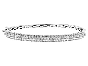 White Diamond Rhodium Over Sterling Silver Bangle Bracelet 1.00ctw