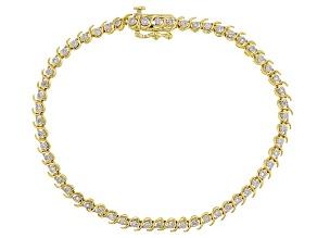 White Diamond 10k Yellow Gold Bracelet .25ctw