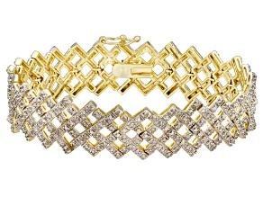 White Diamond 18k Yellow Gold Over Brass Bracelet 2.00ctw