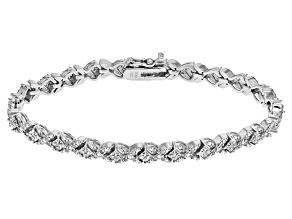 White Diamond Rhodium Over Brass Bracelet 1.00ctw